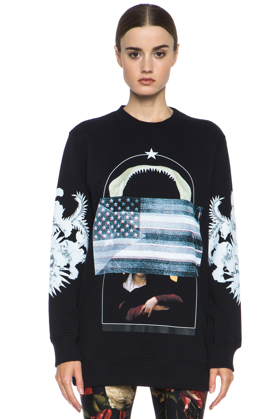 Image 1 of GIVENCHY Flag and Jaws Sweatshirt in Black