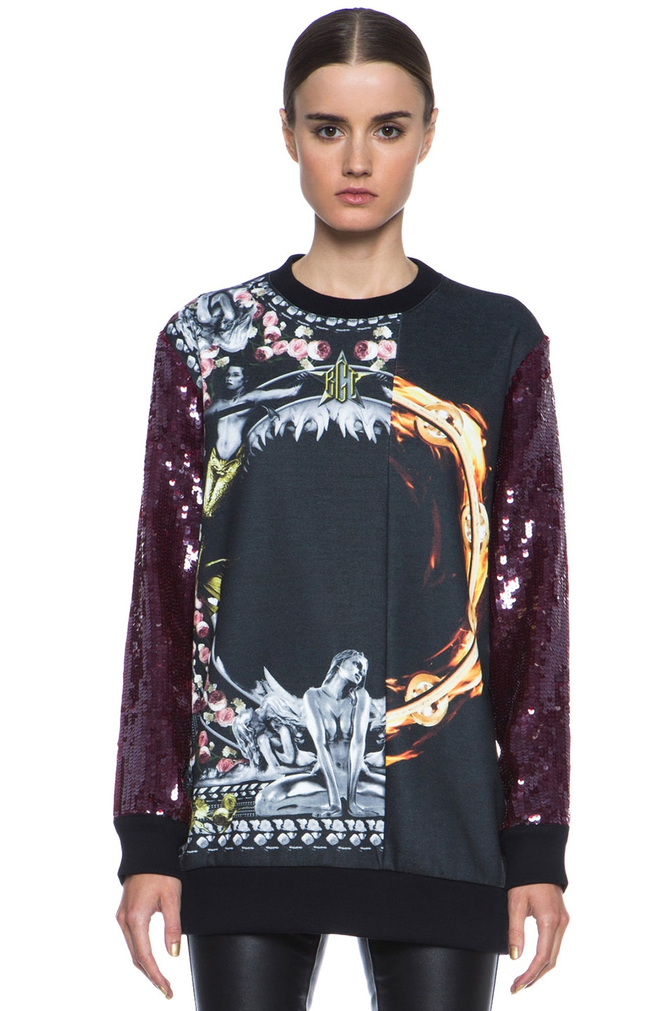Image 1 of GIVENCHY Sequin Orgy vs. Flame Sweatshirt in Black