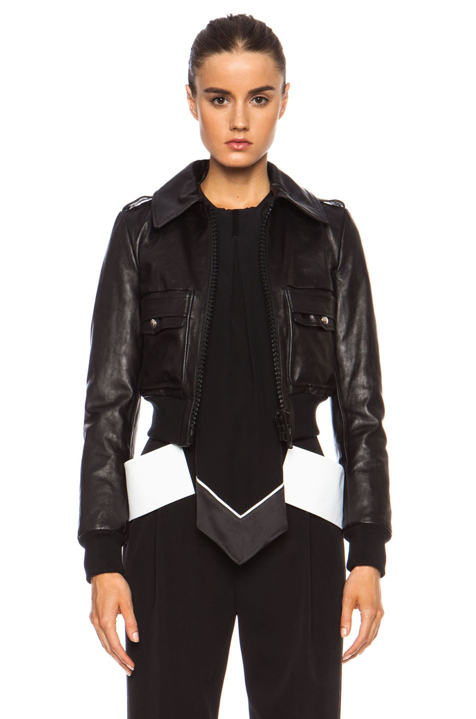 Image 1 of GIVENCHY Leather Bomber Jacket in Black