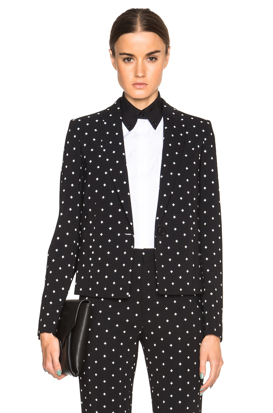 Image 1 of GIVENCHY Crosses Print Cady Cropped Blazer in Black