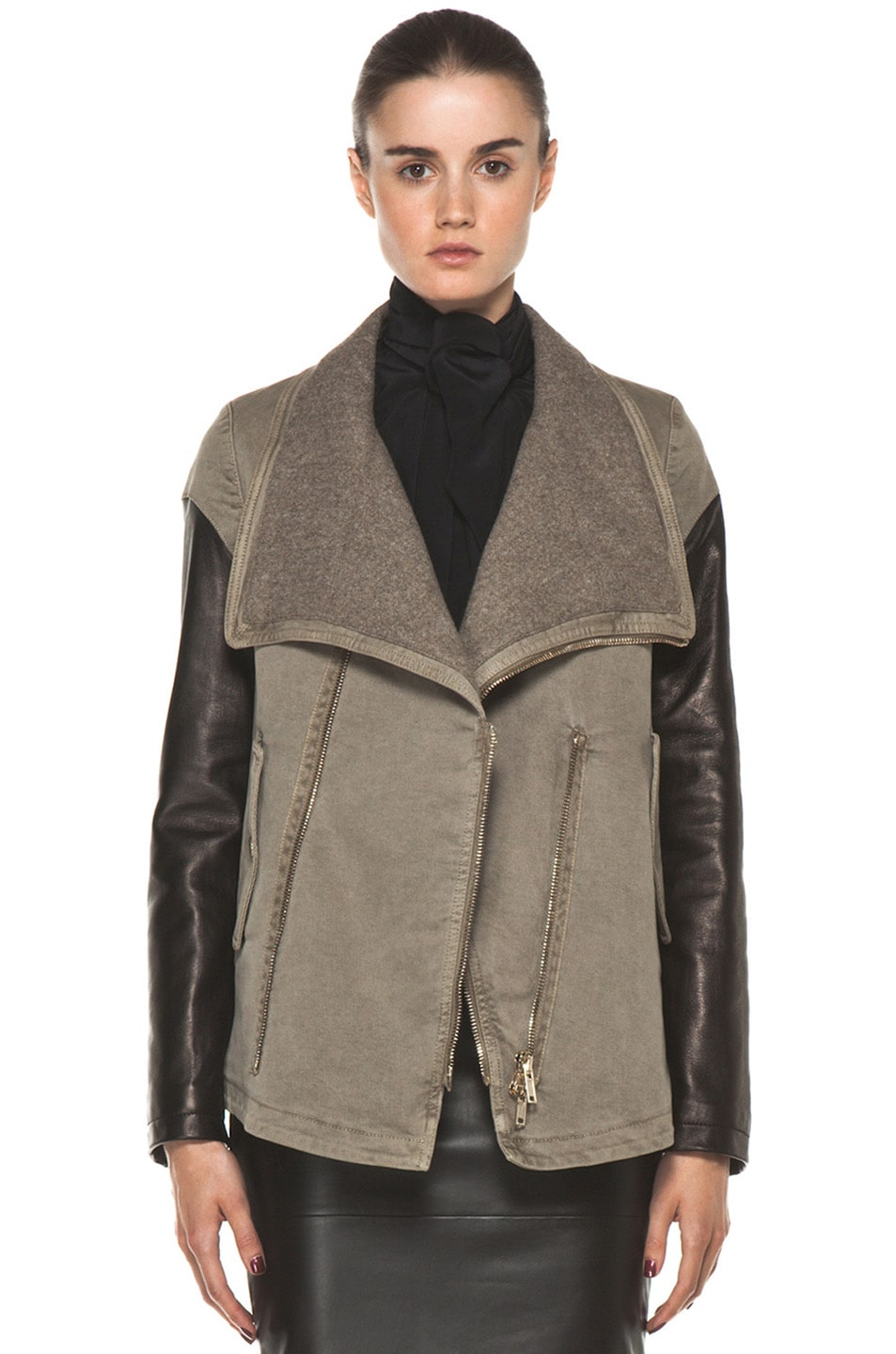 Image 1 of GIVENCHY Denim Jacket with Leather in Taupe