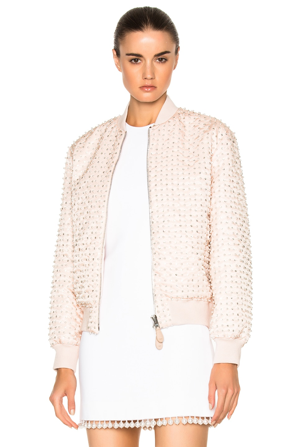 Image 1 of Givenchy Crystal Pearl Embroidered Bomber in Skin