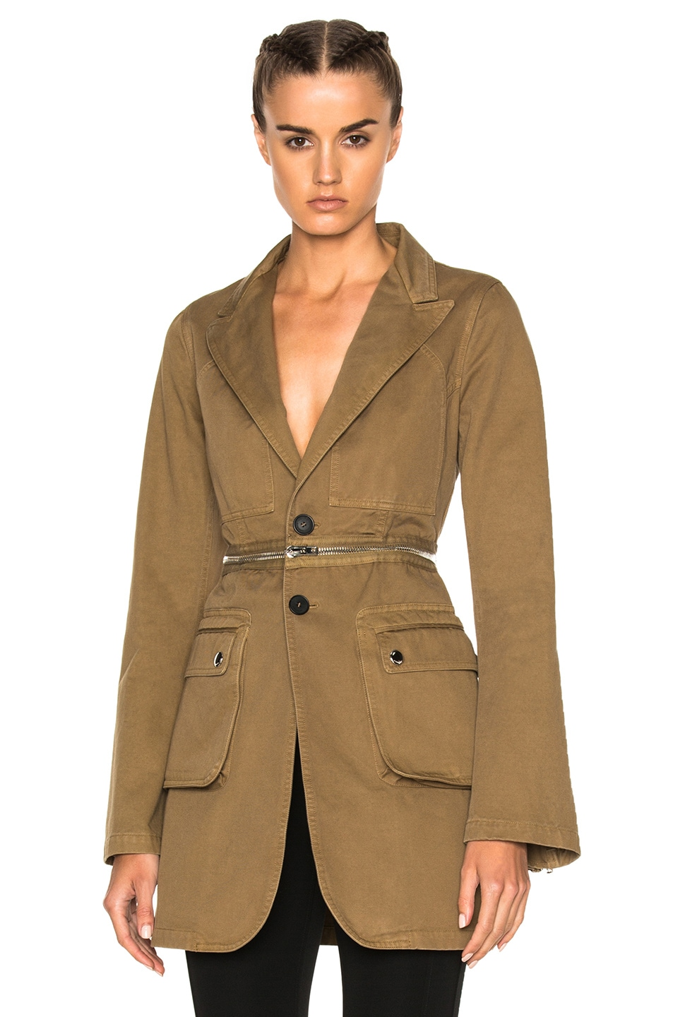 Image 1 of Givenchy Zip Detail Jacket in Khaki