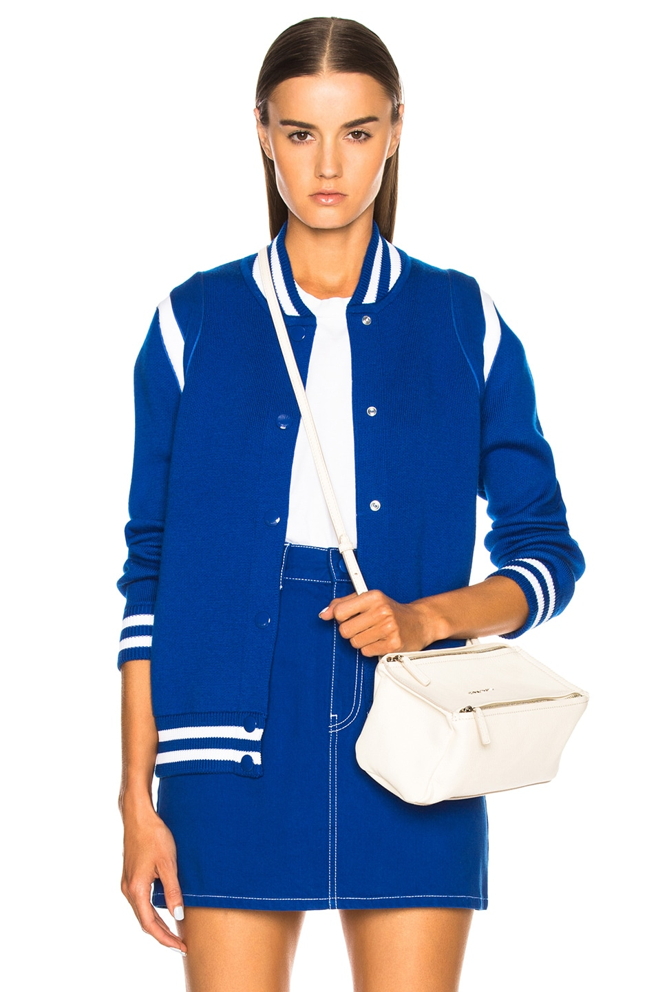 242a8cb70 Givenchy Logo Back Knit Bomber Jacket in Blue | FWRD
