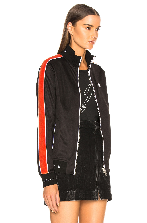 Image 3 of Givenchy Technical Neoprene Jersey Side Stripe Bomber in Black & Orange