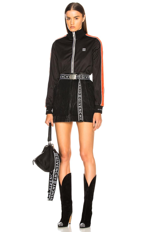 Image 5 of Givenchy Technical Neoprene Jersey Side Stripe Bomber in Black & Orange
