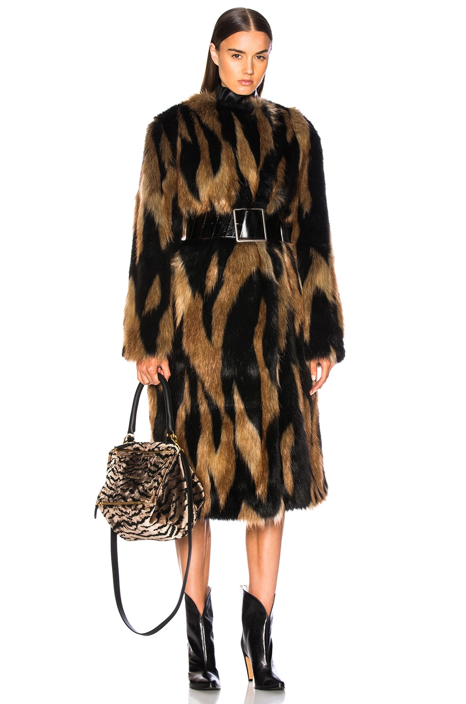 Image 1 of Givenchy Patchwork Faux Fur Coat in Brown & Black