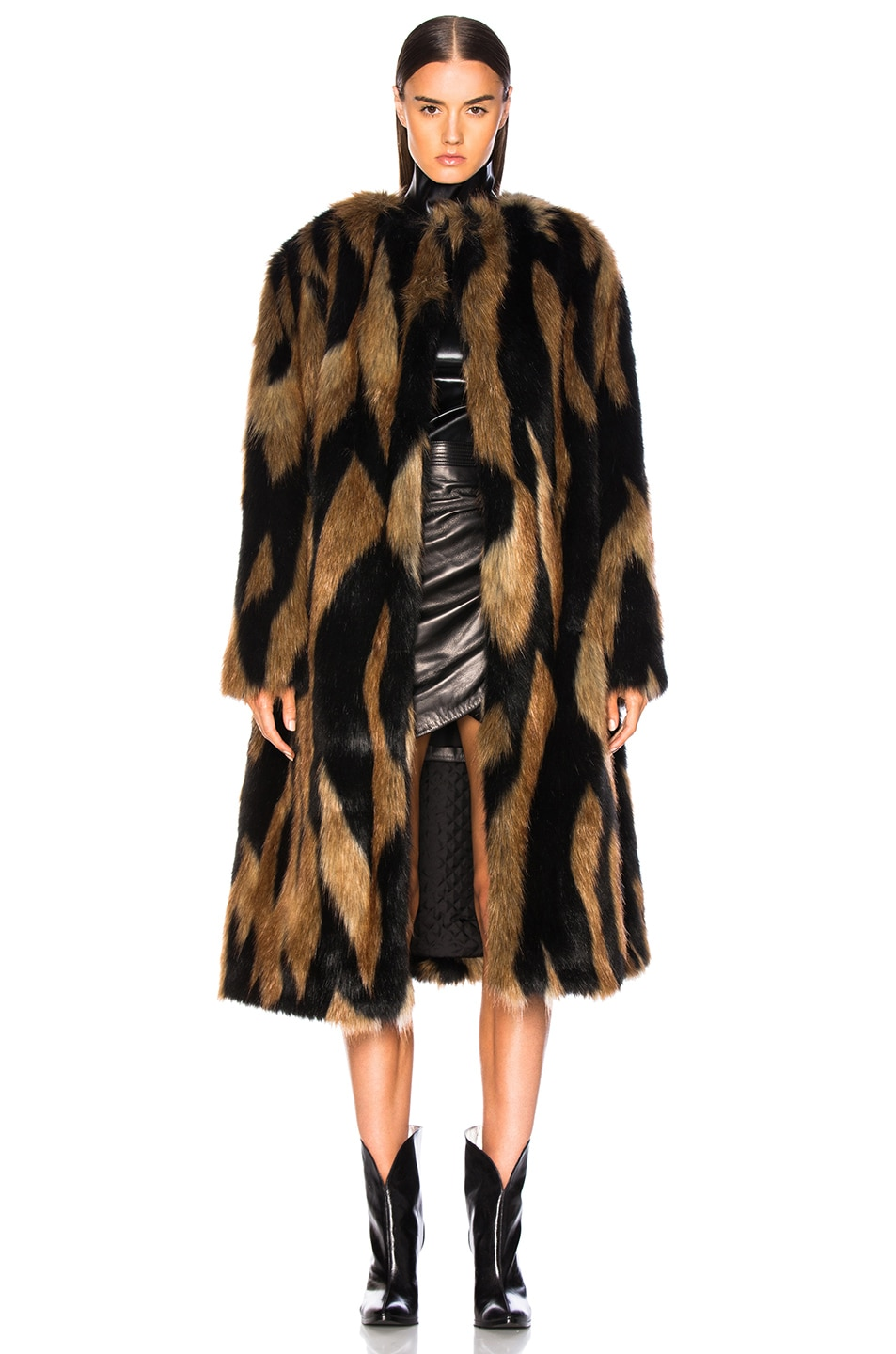 Image 2 of Givenchy Patchwork Faux Fur Coat in Brown & Black