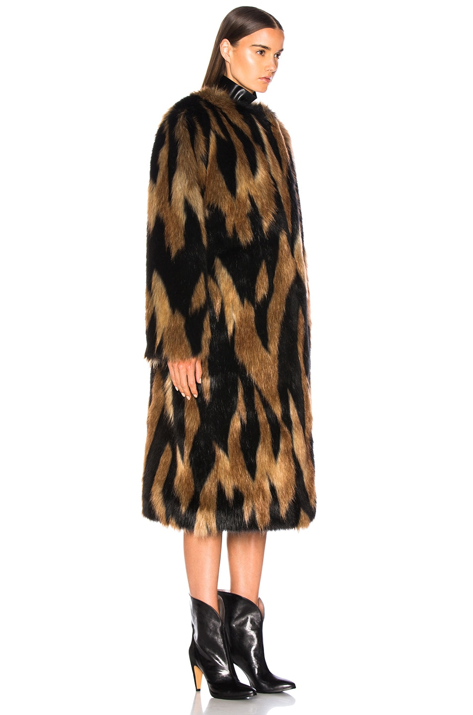 Image 3 of Givenchy Patchwork Faux Fur Coat in Brown & Black