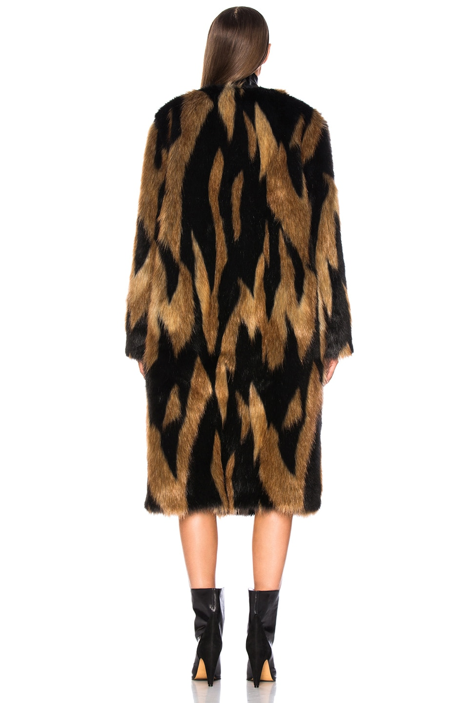 Image 4 of Givenchy Patchwork Faux Fur Coat in Brown & Black