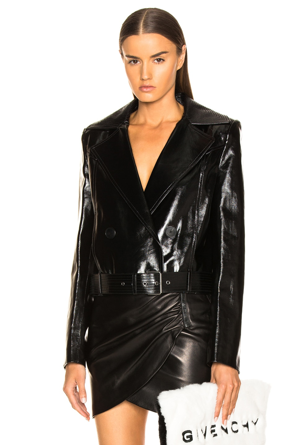 Image 1 of Givenchy Leather Double Breasted Moto Jacket in Black
