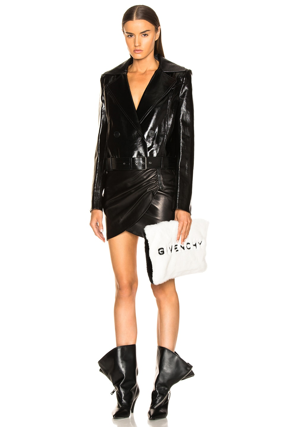 Image 4 of Givenchy Leather Double Breasted Moto Jacket in Black