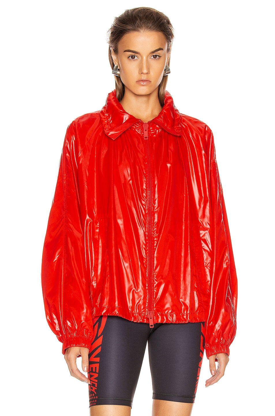 Image 2 of Givenchy Removable Logo Hoodie Windbreaker in Pop Red