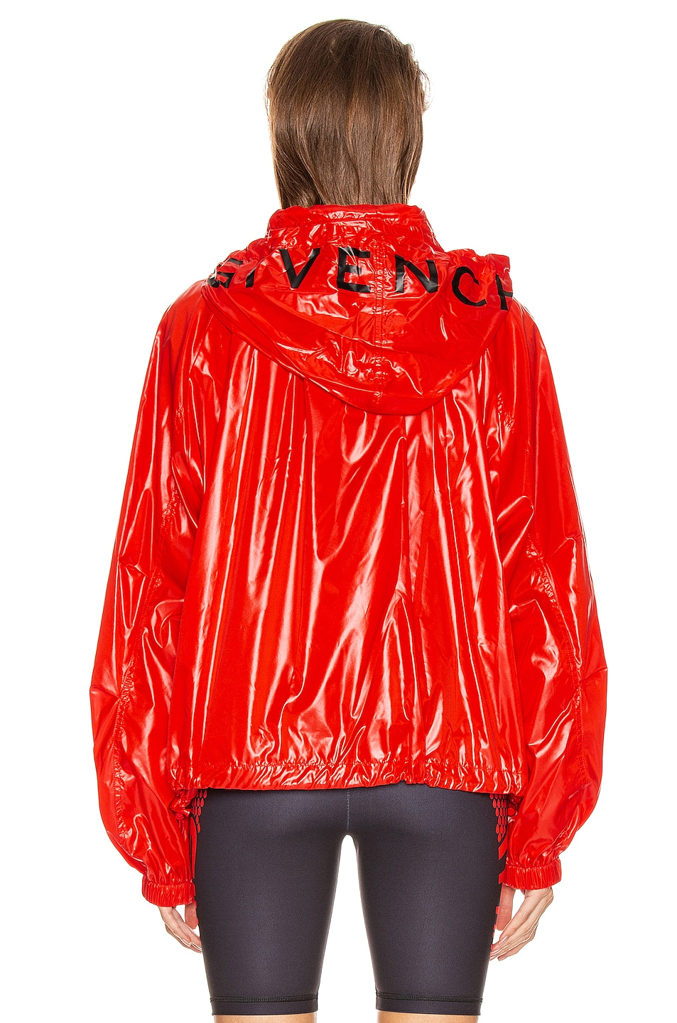 Image 5 of Givenchy Removable Logo Hoodie Windbreaker in Pop Red