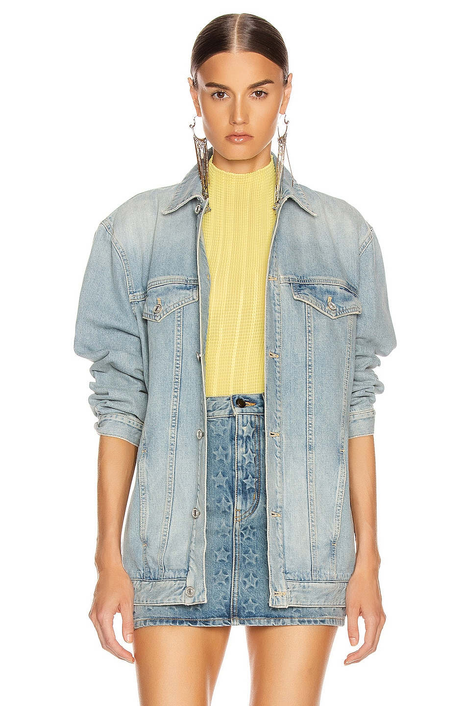 Image 2 of Givenchy Oversized Trucker Jacket in Light Blue