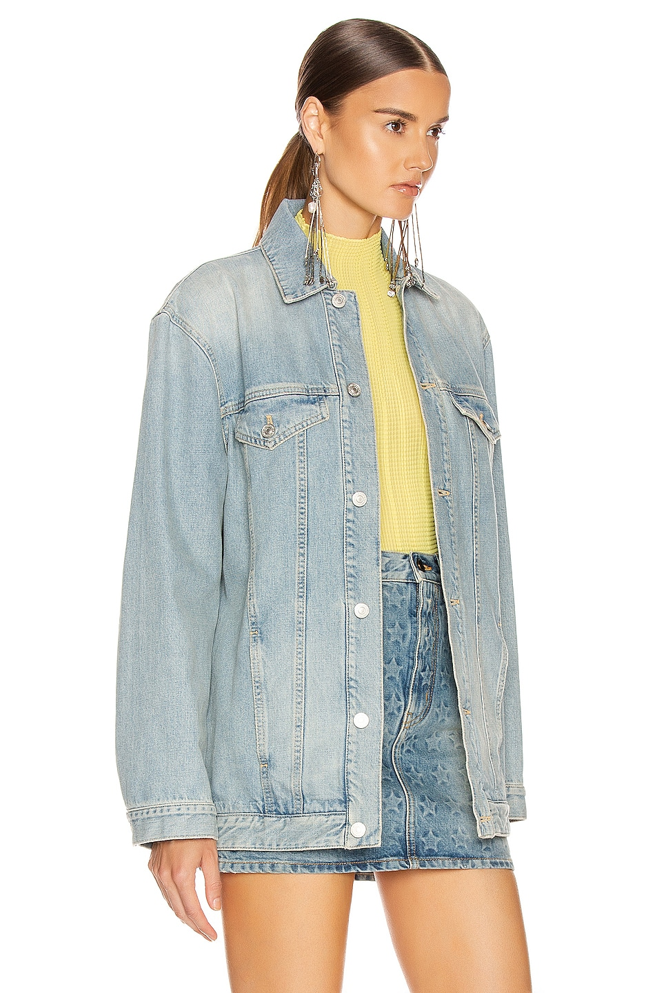 Image 3 of Givenchy Oversized Trucker Jacket in Light Blue
