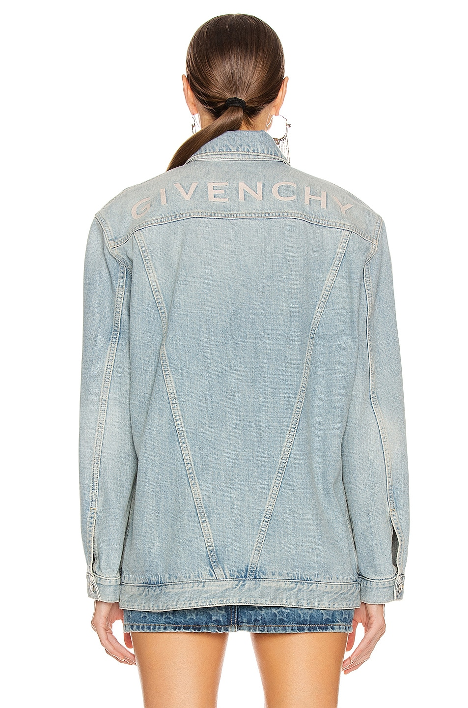 Image 4 of Givenchy Oversized Trucker Jacket in Light Blue