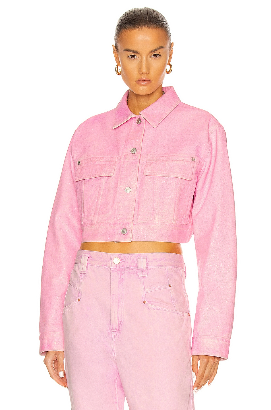 Image 1 of Givenchy Cropped Glitter Denim Jacket in Candy Pink