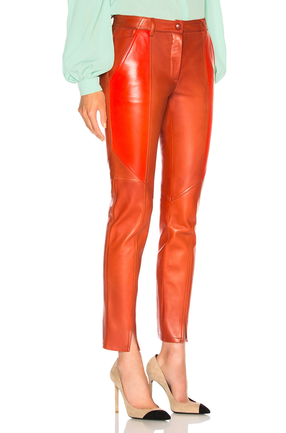Image 2 of Givenchy Paneled Leather Leggings in Red
