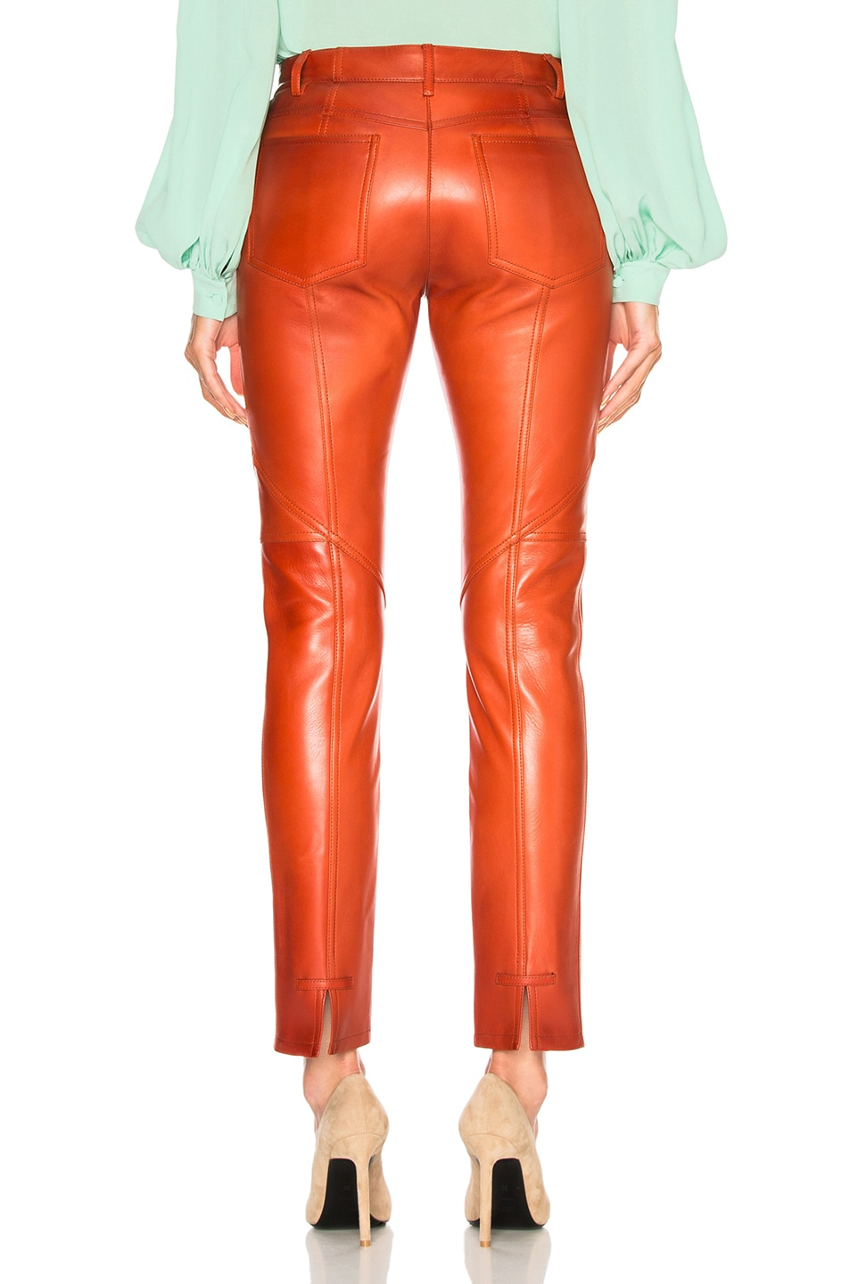 Image 3 of Givenchy Paneled Leather Leggings in Red