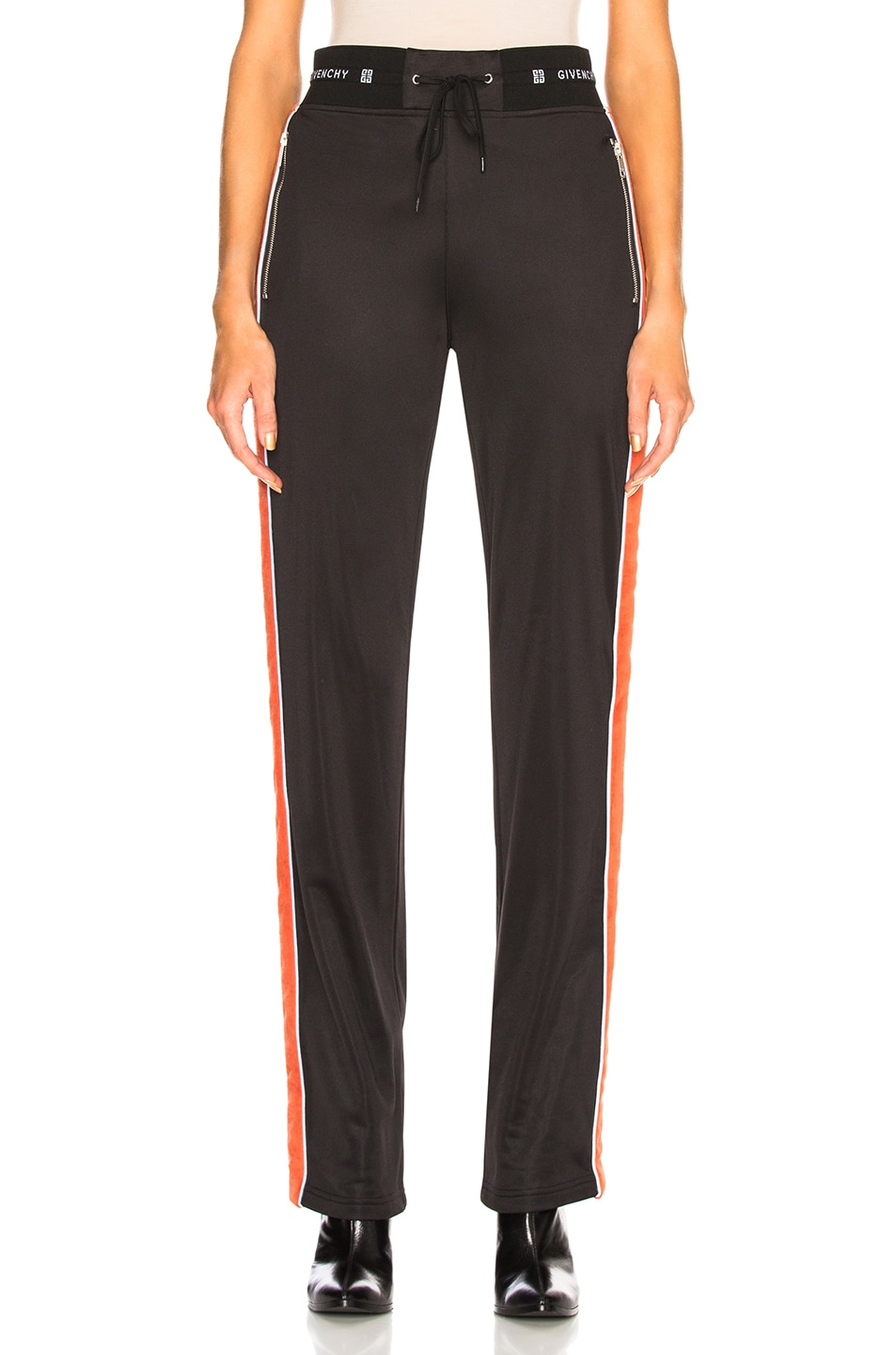Image 2 of Givenchy Technical Neoprene Jersey Joggers in Black & Orange