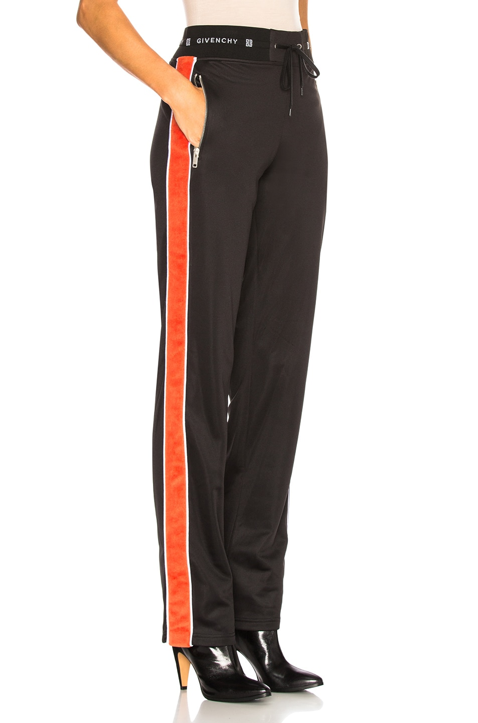Image 3 of Givenchy Technical Neoprene Jersey Joggers in Black & Orange