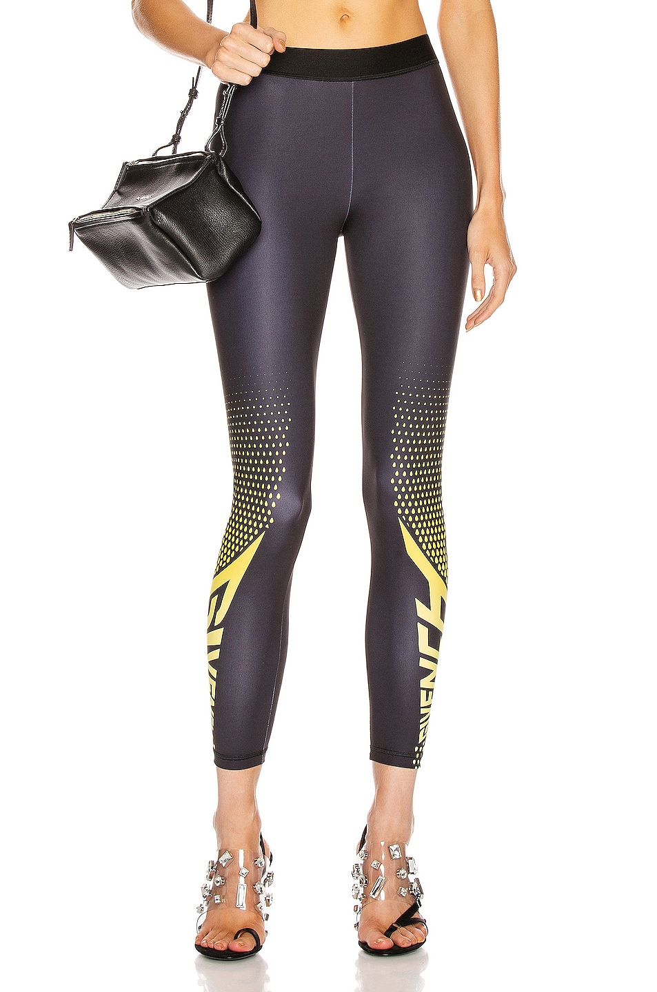 Image 1 of Givenchy Sporty Logo Legging in Black & Yellow