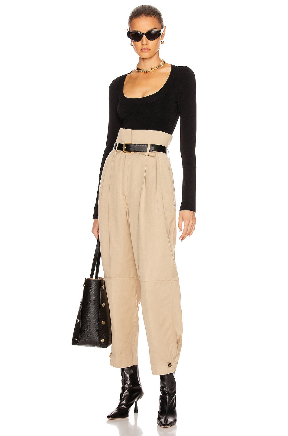 Image 4 of Givenchy High Waisted Pant in Tan