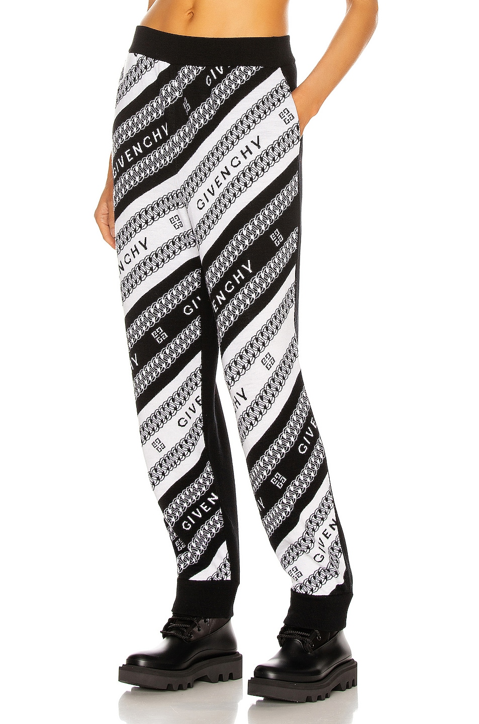 Image 1 of Givenchy Cropped Wool Jogging Pant in Black & White