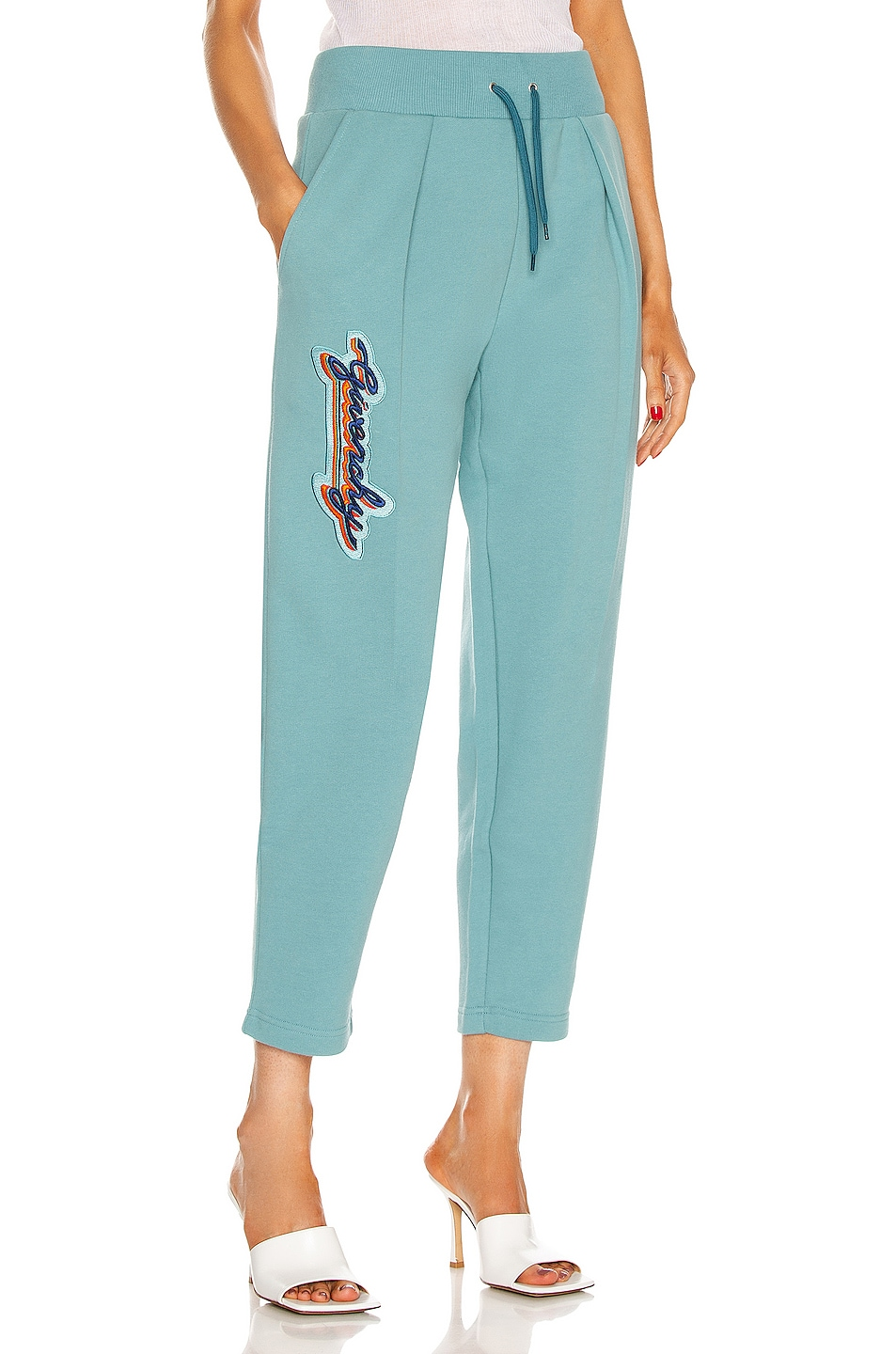 Image 1 of Givenchy Cropped Embroidered Jogging Pant in Celestial Blue