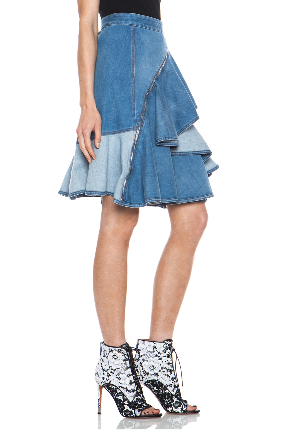 Image 3 of GIVENCHY Stone Washed Denim Ruffle Skirt in Blue