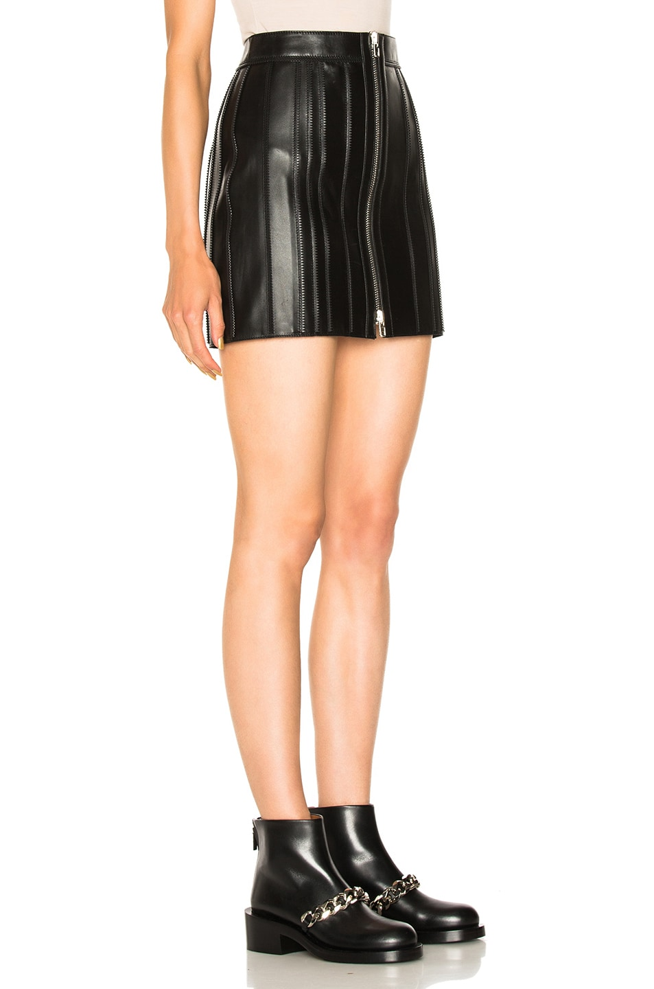 givenchy zip trim leather skirt in black modesens