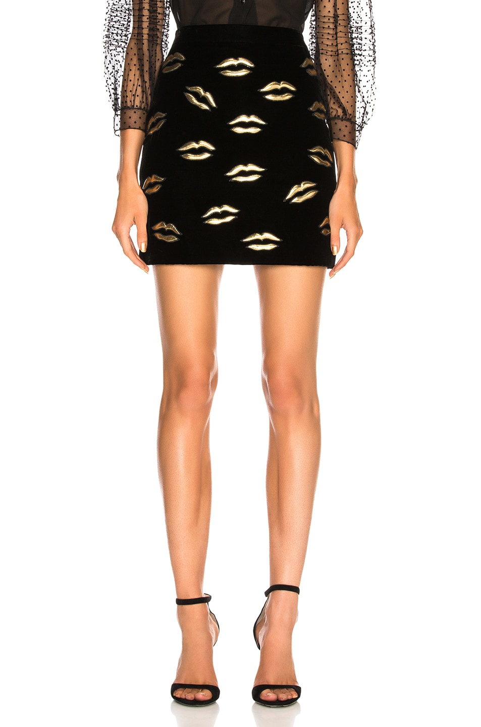 Image 1 of Givenchy Lip Embroidered Velvet Skirt in Black