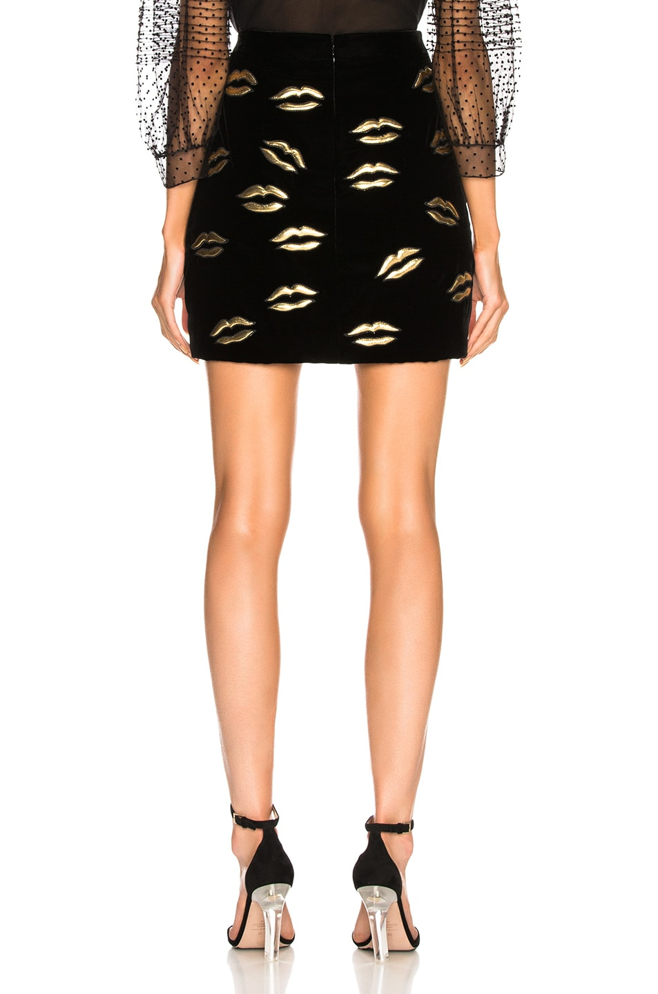Image 3 of Givenchy Lip Embroidered Velvet Skirt in Black