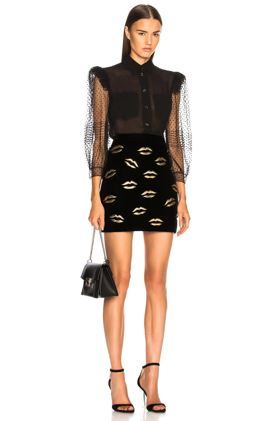 Image 4 of Givenchy Lip Embroidered Velvet Skirt in Black
