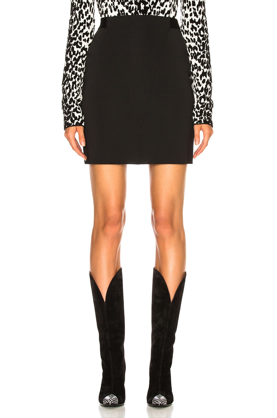 Image 1 of Givenchy Knit Seamed Mini Skirt in Black