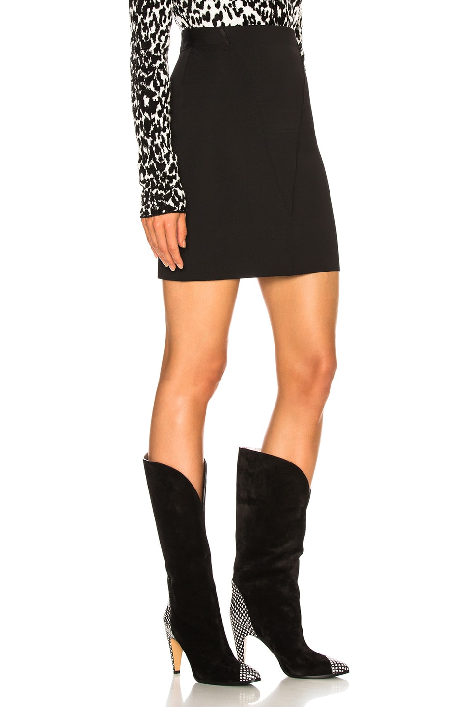 Image 2 of Givenchy Knit Seamed Mini Skirt in Black