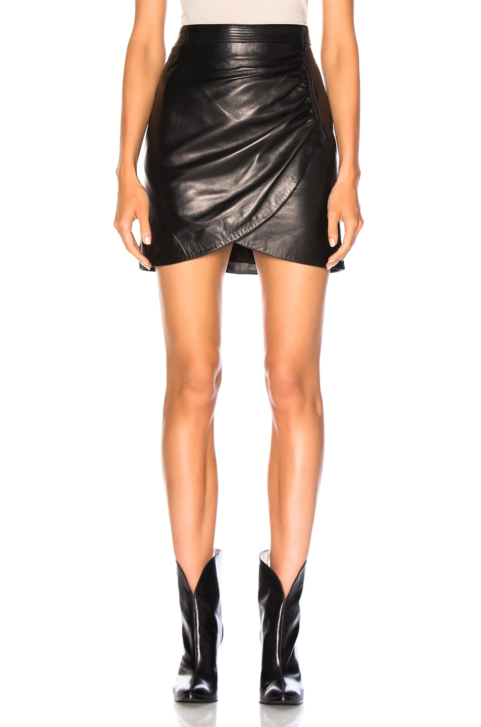 Image 1 of Givenchy Wrap Leather Mini Skirt in Black