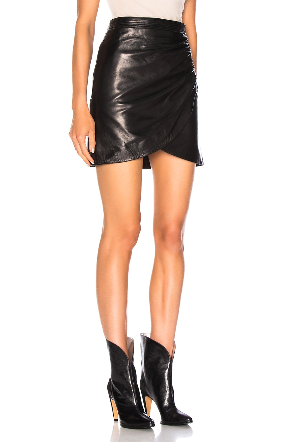 Image 2 of Givenchy Wrap Leather Mini Skirt in Black