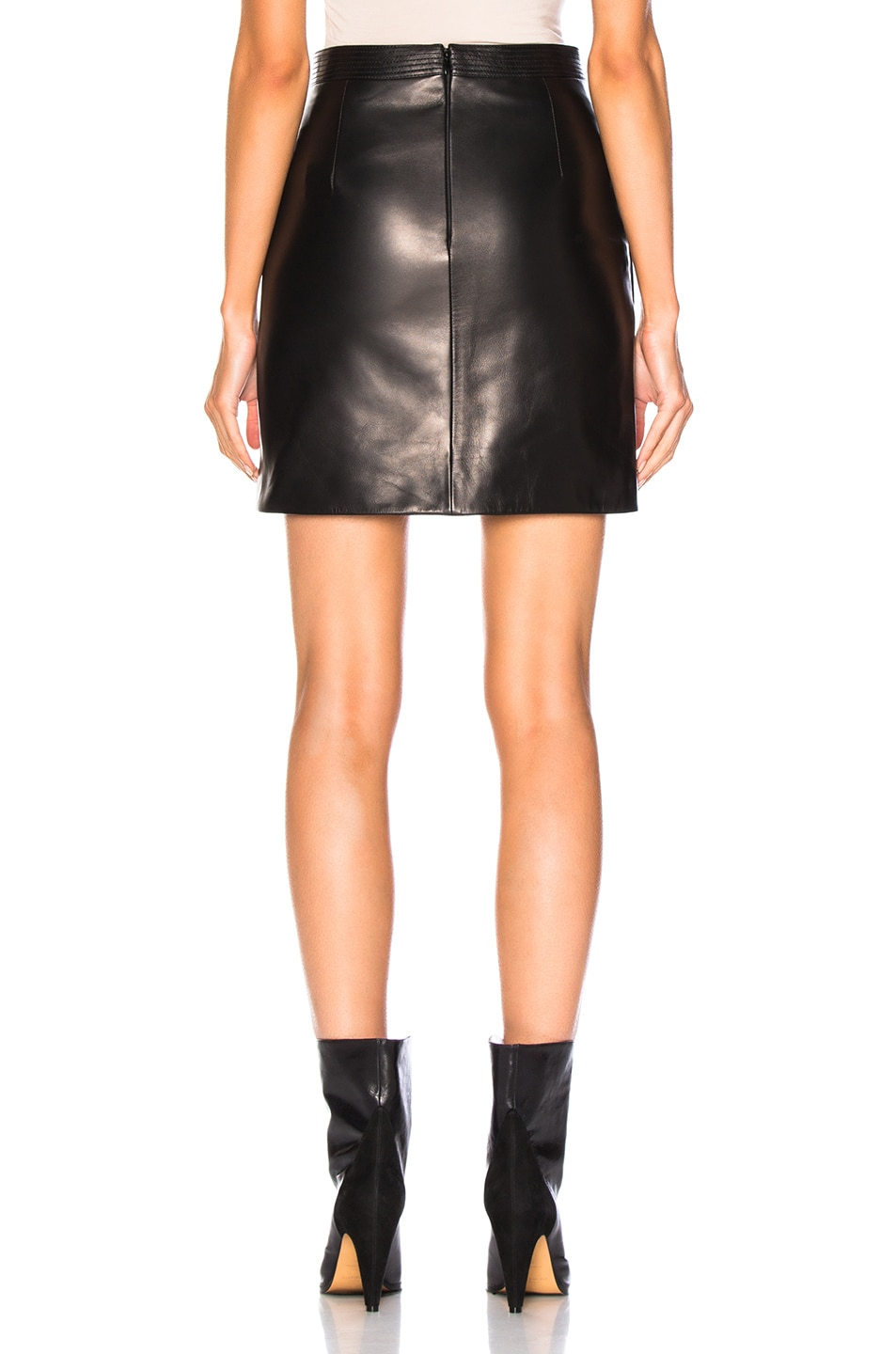 Image 3 of Givenchy Wrap Leather Mini Skirt in Black