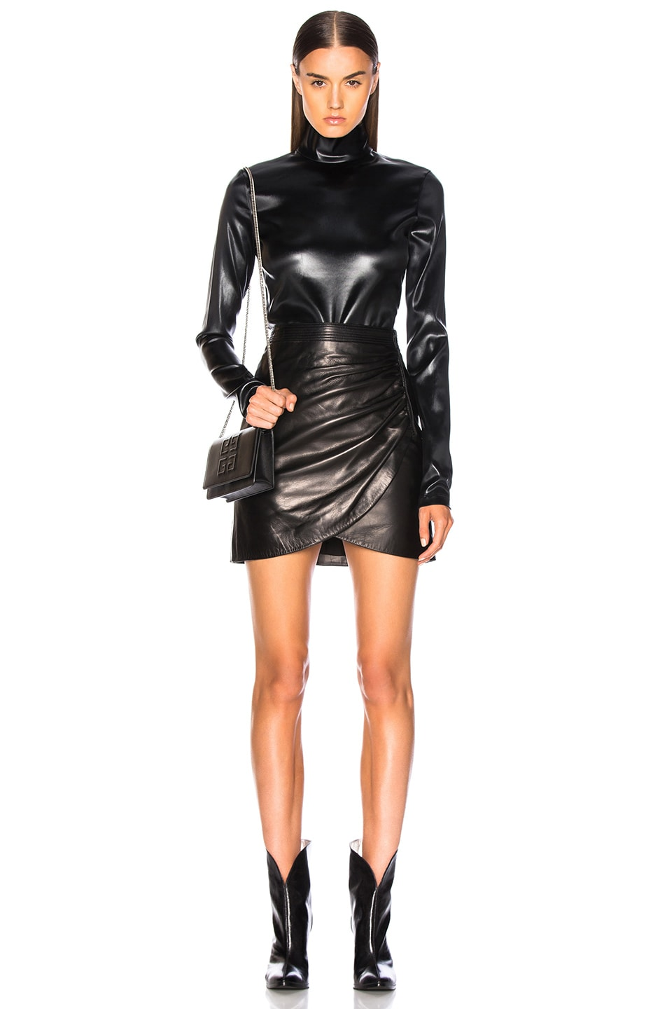 Image 4 of Givenchy Wrap Leather Mini Skirt in Black