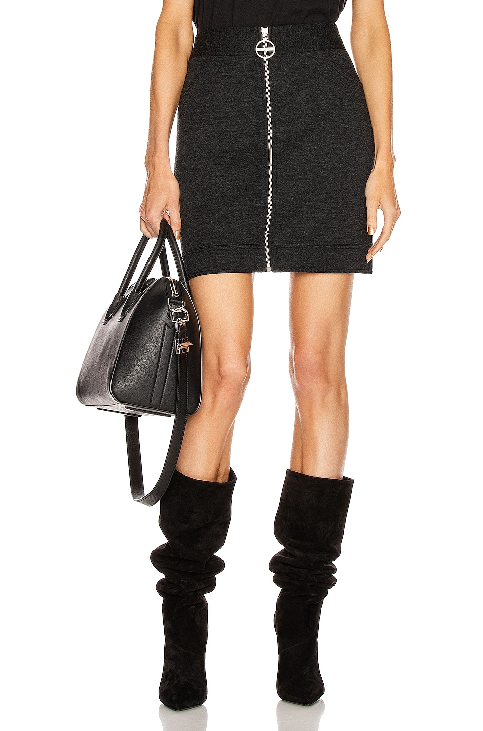 Image 1 of Givenchy Mini Pencil Zipped Skirt in Dark Grey