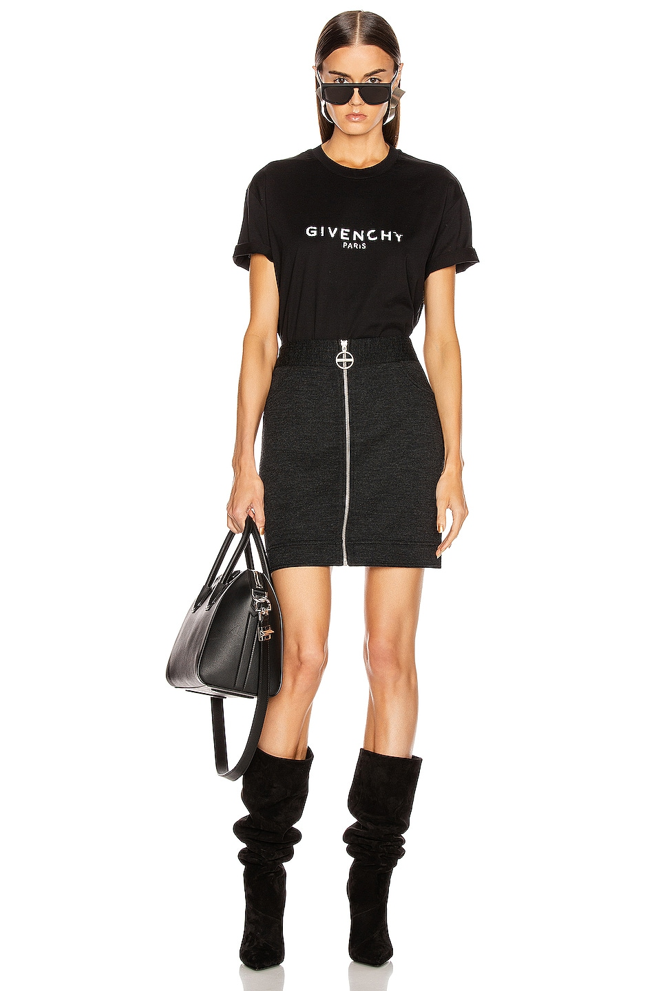 Image 4 of Givenchy Mini Pencil Zipped Skirt in Dark Grey