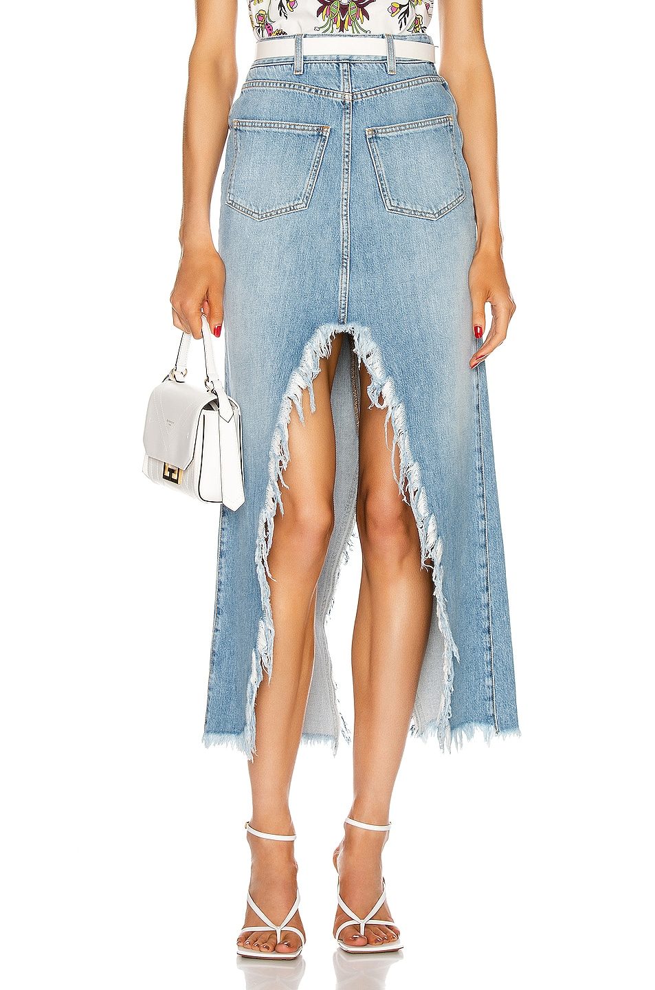 Image 1 of Givenchy Long Cross Over Denim Skirt in Blue