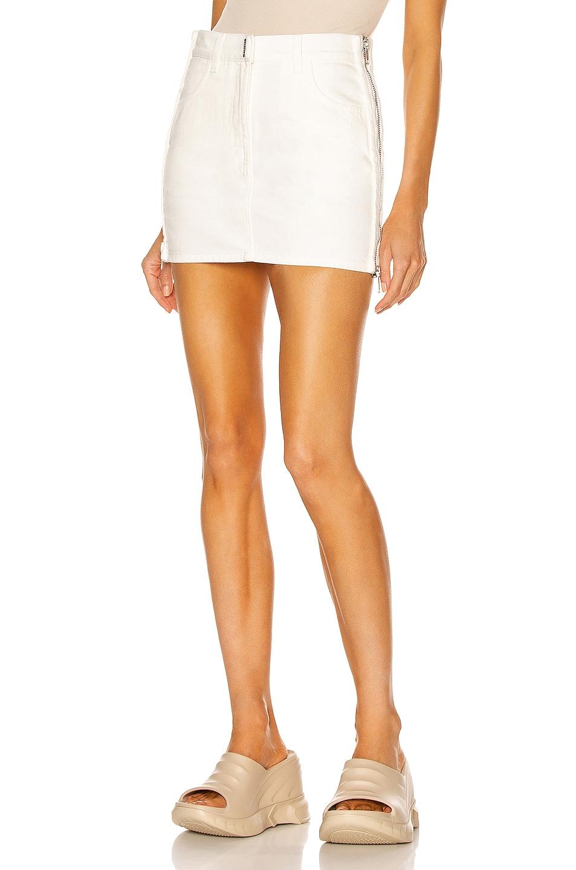 Image 1 of Givenchy Mini Denim Side Zip Skirt in White