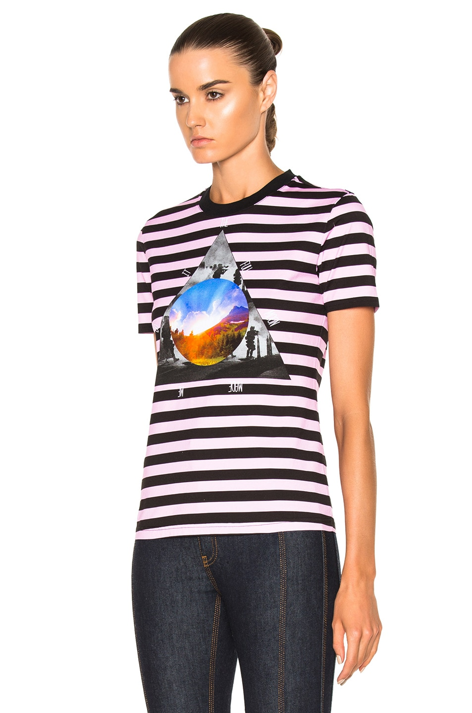 Image 2 of Givenchy Striped Graphic Tee in Multi