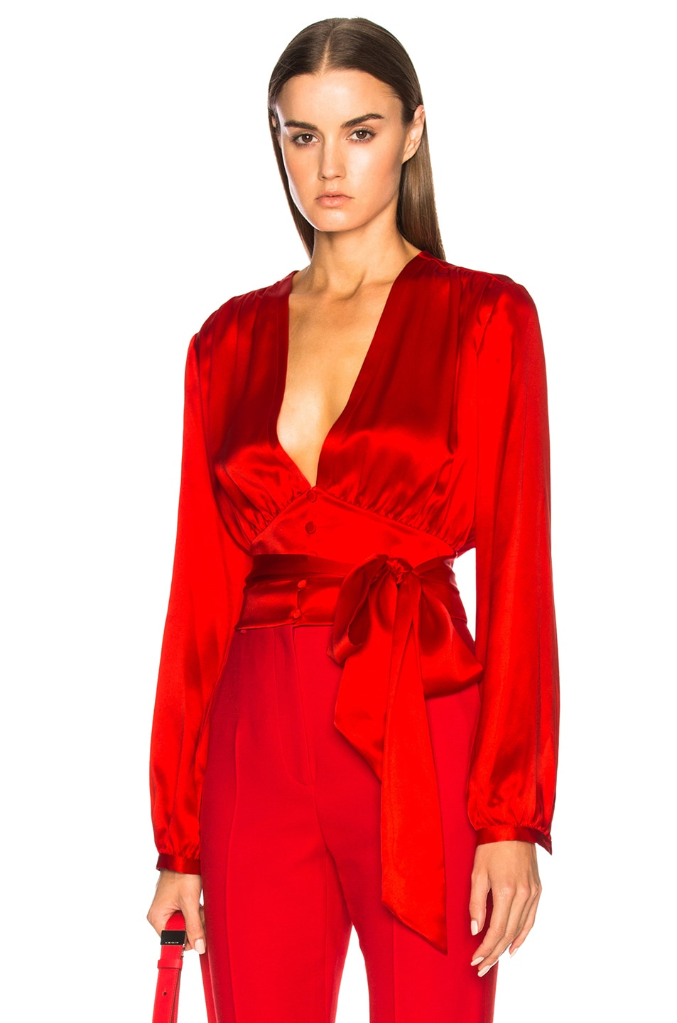Image 1 of Givenchy Long Sleeve Cropped Blouse in Red