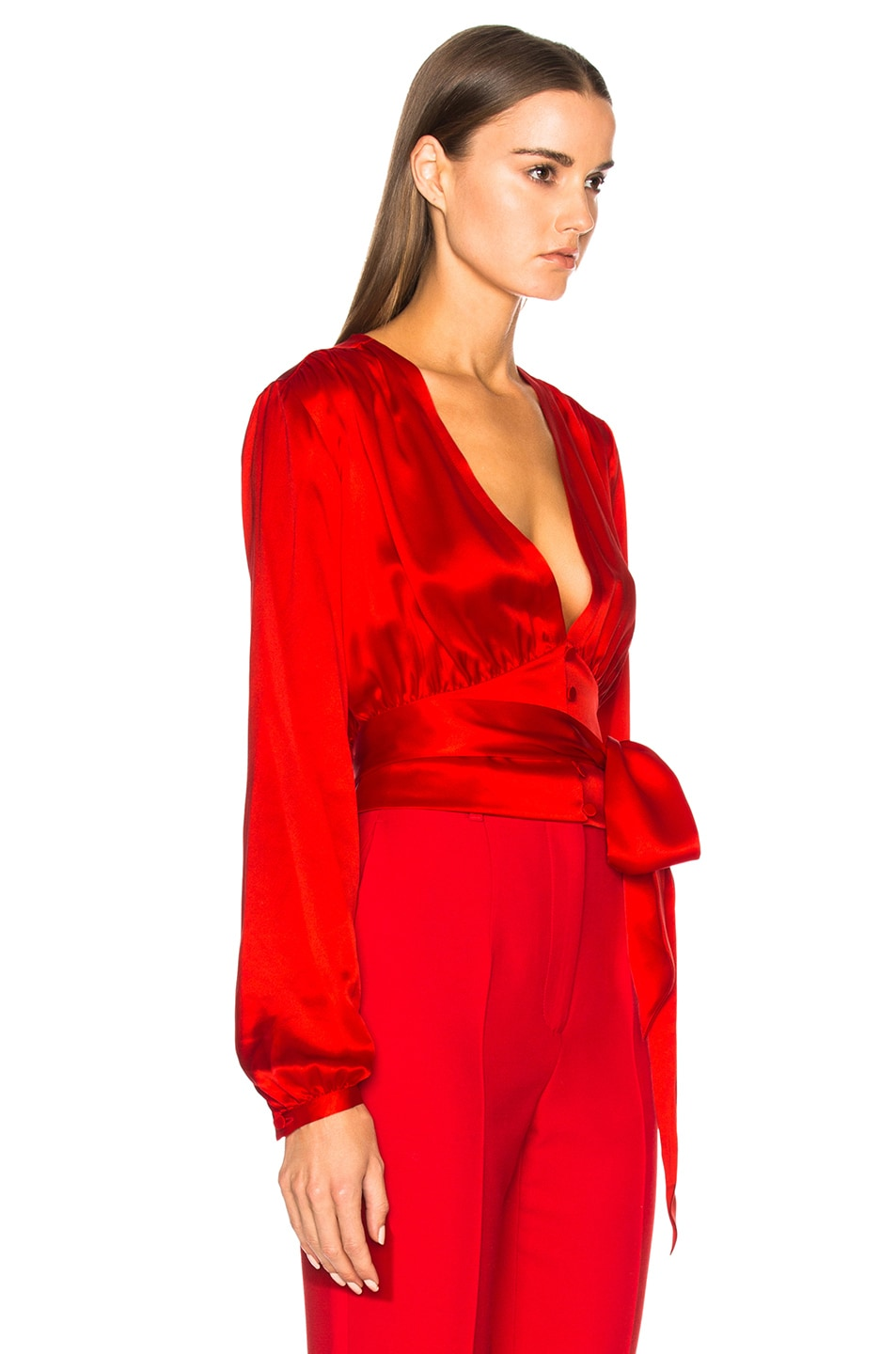 Image 2 of Givenchy Long Sleeve Cropped Blouse in Red