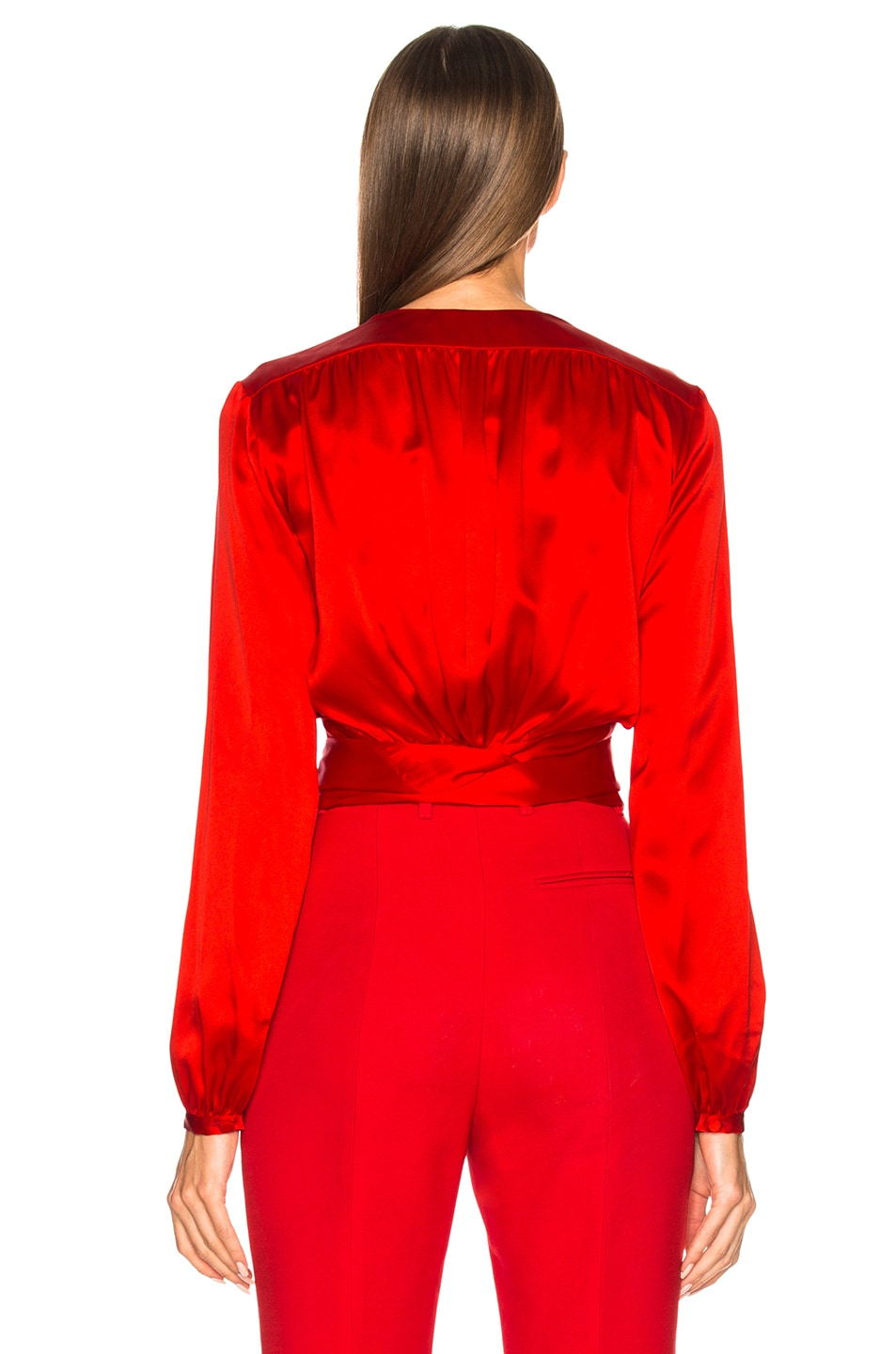 Image 4 of Givenchy Long Sleeve Cropped Blouse in Red