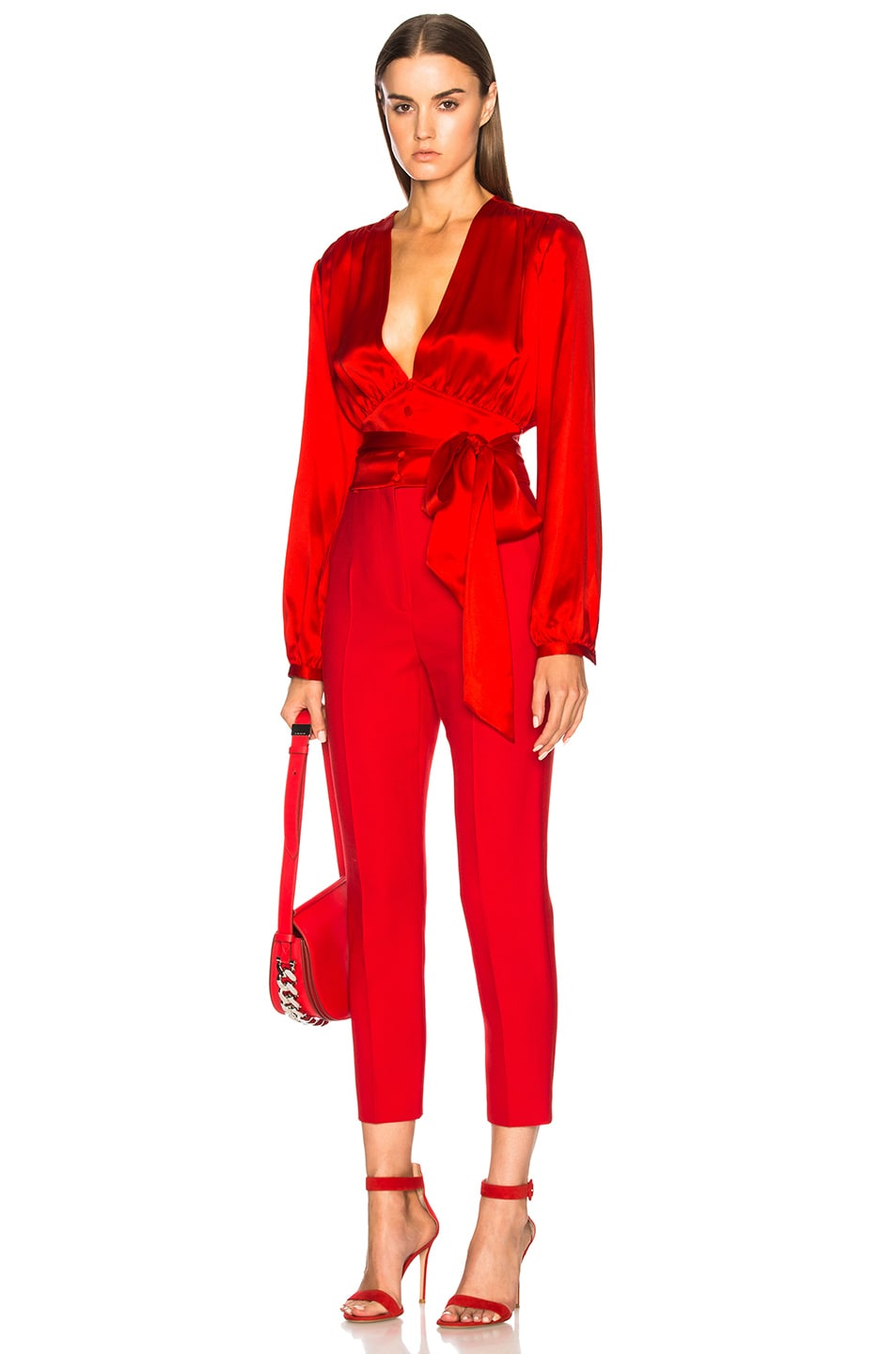 Image 5 of Givenchy Long Sleeve Cropped Blouse in Red